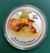 2008 Australia 1 Oz 999 Silver Year Of The Mouse Colorized Coin In Plastic Cap