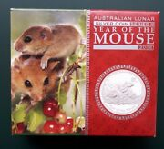 2008 Australia Year Of The Mouse 1 Oz Silver Proof Coin With Box And Coa