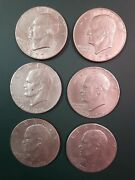 6 Coins Eisenhower Dollar One 1972 One 1977 And Four 1976 - See Pictures