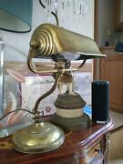 C.1920s Brass Shell Bankers Desk Lamp Iron Base