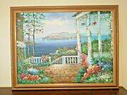 Mariel Chapot French Oil On Canvas 50 X 36 Mediterranean Seaside Sign/frame