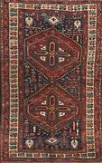 Antique Geometric Traditional Oriental Area Rug Vegetable Dye Hand-knotted 5x8