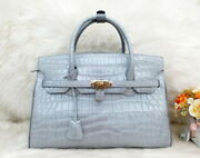 Authentic M Crocodile Belly Kin Womenand039s Handbag Bag Tote Shiny Silver Large 35