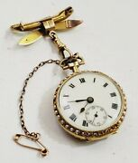 Rare Womenand039s Antique 18k Solid Gold Pocket Watch-brooch. Enamel Case. Pearls