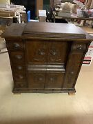 Antique 1910 Singer 27-4 Treadle Sewing Machine In Drawing Room Cabinet