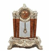 Fine Italian Silver Plated Floral Marble Column Swirl Table Clock With Pendulum
