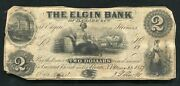 1852 2 The Elgin Bank Of D. Clark And Co. Rome Ny Obsolete Currency Note D