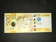 Philippines Ngc 2020 500 Pesos Solid 6 Banknote Ma666666 - Duterte/diokno