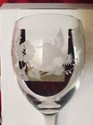 4 Vintage Avon Frosted Hummingbird Etched Lead Crystal Goblets New In Boxes