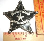 Sheriff Deadwood Badge Vintage Collectible Old West Southwestern Cowboy Pin