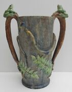 19th Century Majolica Vase - Pallisy Style - Snake Frogs Butterfly - Number 2