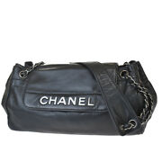 Authentic Cc Logo Chain Shoulder Bag Leather Black Silver Italy 94bs978