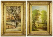 Antique Oil Painting On Wooden Board, Pair Of Landscape, Winter And Summer Scene