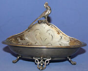 Antique Art Deco Ornate Silver Plated Footed Bowl Boat