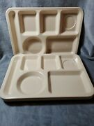 4 Texas Ware 146 Divided Plate Tray Tan Beige Melamine 14x10