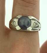Vintage Periwinkle Blue Star Sapphire And Diamond Ring In 14k White Gold Size 6