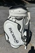 Bacardi Branded Staff White/gray Leather Golf Bag W/ Carry Strap And 6 Club Slots