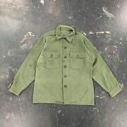 70s Us Army Sateen Cotton Og107 Shirt Field Utility Vietnam Faded Distressed