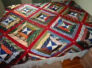 Vintage Hand Stitched And Tied Crazy Mens Neck Ties Polyester Quilt Queen 90x106