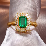 Vintage Natural Green Emerald Diamond Cocktail Women Ring Solid 14k Yellow Gold