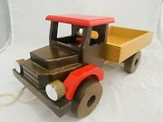 Vintage Handcrafted Wooden Toy Truck Made In Romania