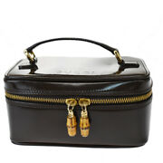 Authentic Bamboo Vanity Hand Bag Leather Brown Gold Made In Italy 61mh776