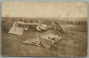 Early Aviation Airplane Crash Antique Real Photo Postcard