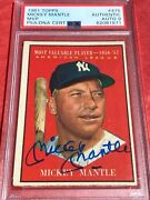 🔥flashsale 1961 Topps All Star Mickey Mantle Autographed Signed Auto Psa Mint 9