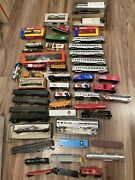 Large Lot Of Ho Model Scale Trains, Box Cars, Engine Parts, Pieces