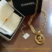 Necklace Auth Coco Mark Chain Logo Vintage Rare Gold Circle Gift Cute F/s