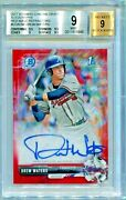 2017 Bowman Chrome Draft Rookie Drew Waters Red Wave Refractor Rc Auto 1/5 Bgs 9