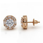Exquiste Round And Baguette Halo Diamond Wedding Stud Earrings 14kt Rose Gold