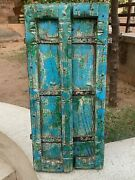 19th C Vintage Hand Painted Collectible Rare Iron Fitted Wooden Castle Fort Door