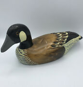 Vintage 1980andrsquos Rustic Hand Carved Wooden Duck Decoy