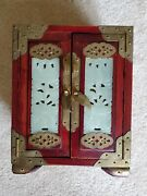 Vintage Chinese Wood Brass And Carved Jade Panel Jewelry Box 3 Drawer