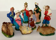 Vintage Chalkware Nativity Set From Japan 9 Pieces 4 Tall Figures 1960s