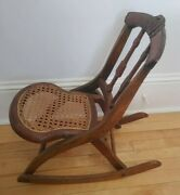 Antique Vintage Childs Toddlers Wood Folding Cane Bottom Rocking Chair 24