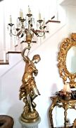 French Figural Crystal Candelabra Lamp - Mid-century Torchiere