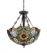 Stained Cut Glass Reverse Hanging Ceiling Light Style Beautiful Colors