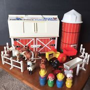 Vtg Fisher Price Little People 915 Play Family Farm Barn Complete Toy Set Moos