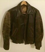 Antique Clyde Mack Leather Jacket Bomber Biker Rare Collectible 1940and039s Talon