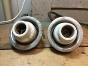 Lot Of 2 Vintage Wheeler Boston Enamel Shade Fitters As Is For Parts/repair