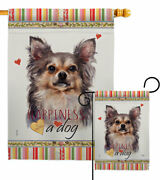 Chihuahua Happiness Garden Flag Dog Animals Decorative Gift Yard House Banner