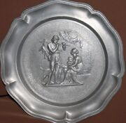 Vintage Pewter Wall Decor Plate Hunting Scene