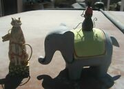 Jim Shore Cat 114420 '03 And Paper Mache Elephant With Monkey Riding On Its Back