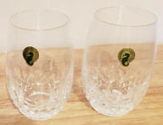 Waterford Lismore Nouveau Stemless White Wine Crystal Glasses 12 Oz Set/2 Nwt