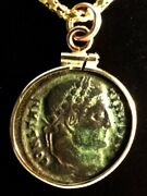 Constantine Great Campgate Ancient Roman Coin Gold-filled Bezel Pendant Necklace