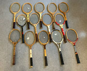 Lot Of 14 Antique Vintage Wooden Tennis Racquets. Strings Good Flat And Playable