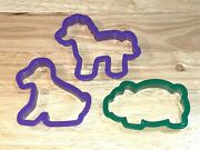 Lot 3 Vintage Wilton Plastic Large Cookie Cutter Puppy Dog, Horse And Pig Animals