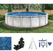 15and039 Round Adobe Mist 52 Steel 6 Top Rail Above Ground Pool Package